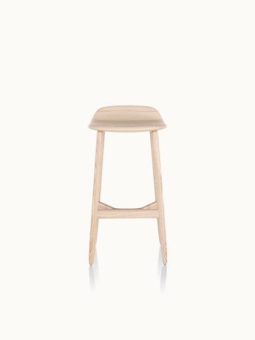 A bar-height wood Crosshatch Stool with a light finish, viewed from the front.