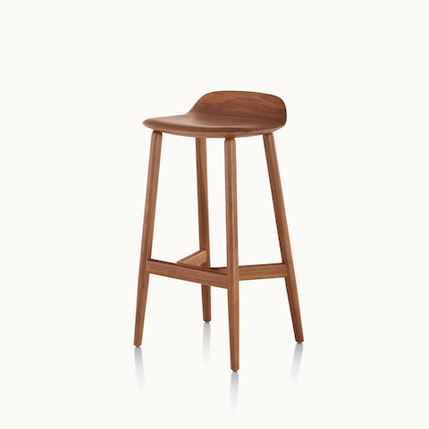 Angled view of a wood Crosshatch Stool with a medium finish. Select to go to the Crosshatch Stool product page.