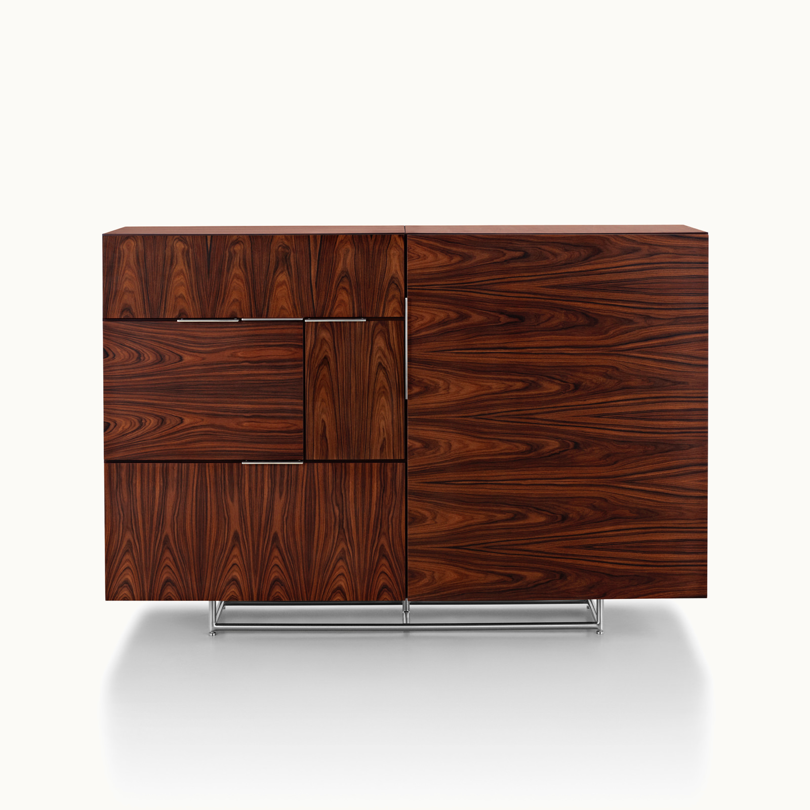 A Domino Storage sideboard with a dark wood finish and a mix of grain direction, viewed from the front.