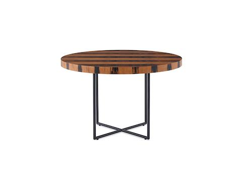 A Domino Table with a wood top and metal base.