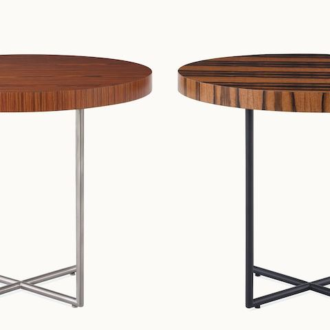 Two Domino Tables with wood tops and metal bases.