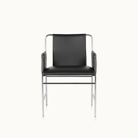 An Envelope side chair with black leather upholstery and a tubular steel frame, viewed from the front.