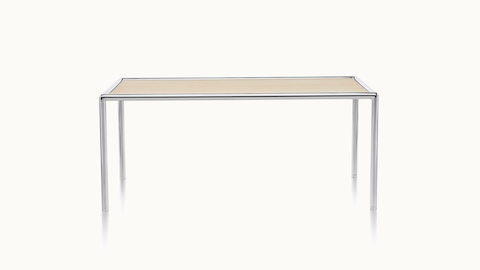 A 40-inch-wide rectangular Full Round coffee table with a light wood top and tubular metal frame, viewed from the front.
