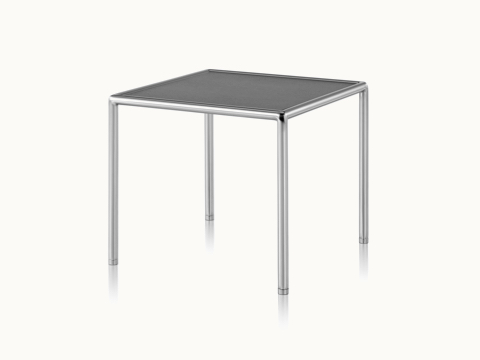 A square Full Round side table with a black wood top and tubular metal frame, viewed at an angle.