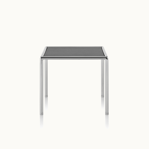 A square Full Round side table with a black wood top and tubular metal frame.