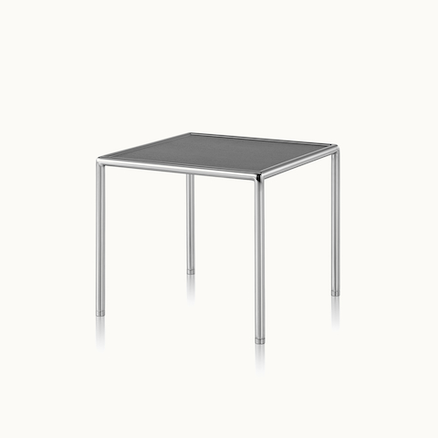 Angled view of a square Full Round side table with a black top and tubular metal frame. Select to go to the Full Round Tables product page.