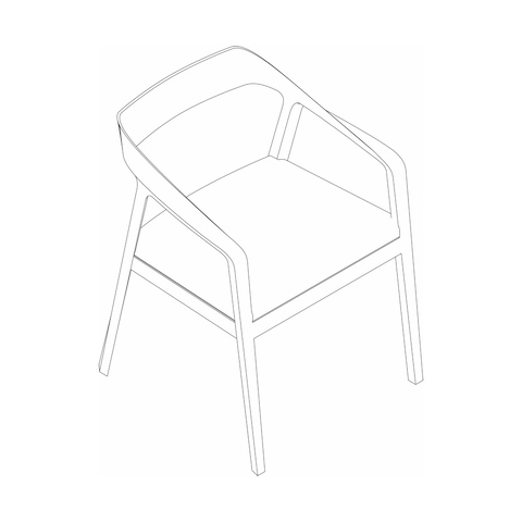 Line drawing of a Full Twist Guest Chair, viewed from above at an angle.