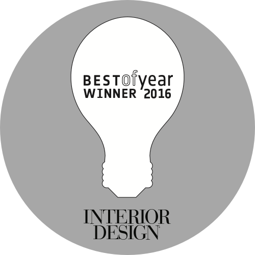 A logo for the Best of Year 2016 award from Interior Design magazine.