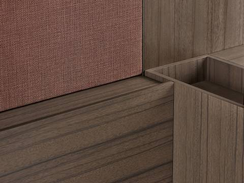 Close-up of hand-selected veneers on Geiger Rhythm Casegoods, showing vertical and horizontal grain patterns.