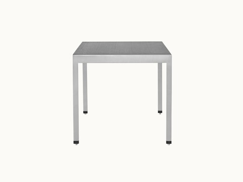 An H Frame side table with a metal frame and a wood top in a black finish.