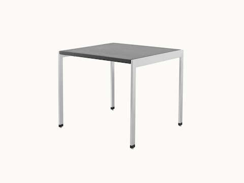 Angled view of an H Frame side table with a metal frame and a wood top in a black finish.