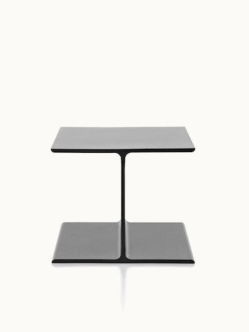 A black I Beam side table, oriented to display the upper and lower flanges of the cast-aluminum pedestal.