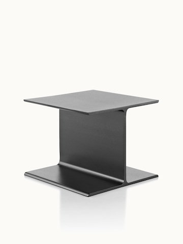 Angled view of a black I Beam side table with no attached surface.
