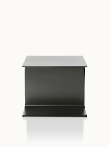 A black I Beam side table, oriented to display the cast-aluminum pedestal's central section.