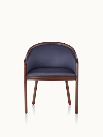 A Landmark side chair with dark blue French upholstery, a dark wood frame, and standard-height arms, viewed from the front.
