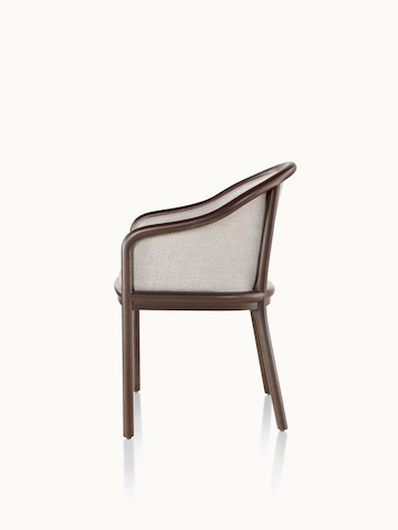 Side view of a Landmark side chair with light gray French upholstery, a dark wood frame, and standard-height arms.