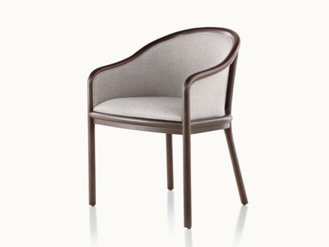 Angled view of a Landmark side chair with light gray French upholstery, a dark wood frame, and standard-height arms.