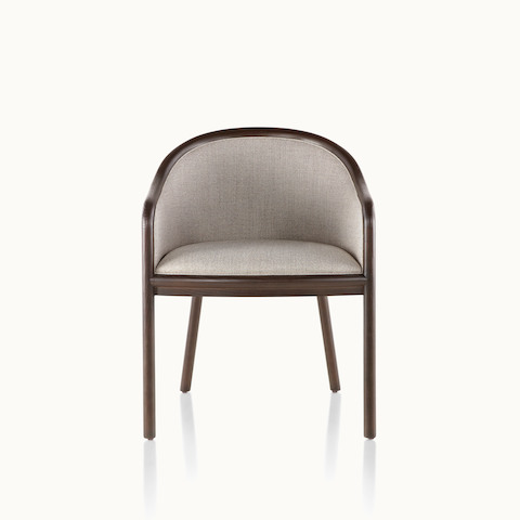 A Landmark side chair with light gray French upholstery, a dark wood frame, and standard-height arms, viewed from the front.