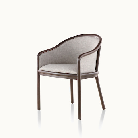 Angled view of a Landmark side chair with light gray French upholstery and a dark wood frame. Select to go to the Landmark Chair product page.