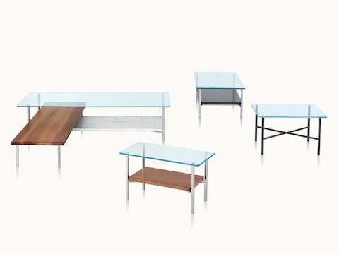 Four Layer occasional tables of various styles and different combinations of glass, wood, and marble.
