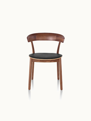 A Leeway side chair with a wood frame and backrest in a medium finish and a seat upholstered in black leather, viewed from the front.