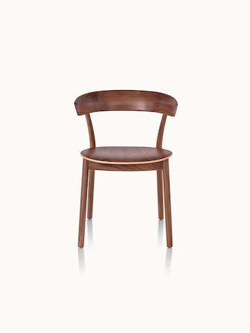 A Leeway side chair with a wood frame, backrest, and seat in a medium finish, viewed from the front.