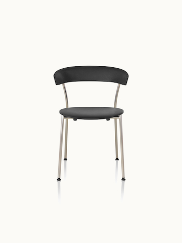 A Leeway side chair with a metal frame and a black polyurethane backrest and seat, viewed from the front.