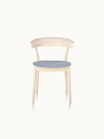 A wood Leeway side chair with a light finish and a seat upholstered in blue fabric, viewed from the front.