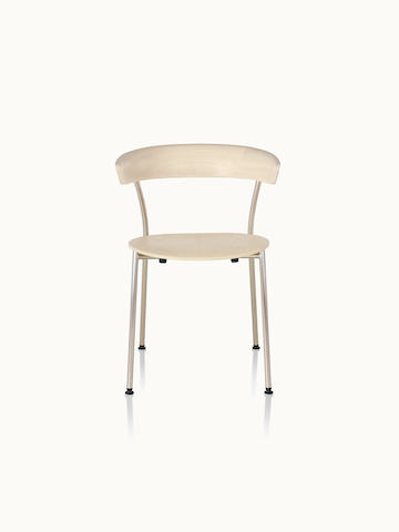 A Leeway side chair with a metal frame and a wood backrest and seat in a light finish, viewed from the front.