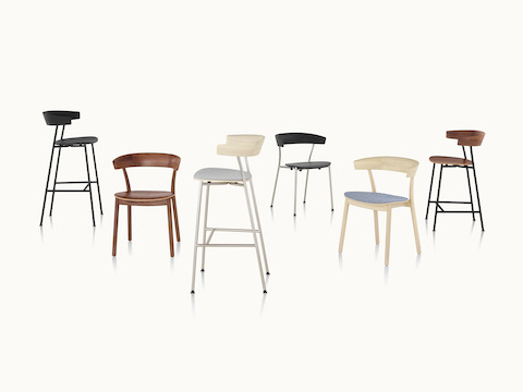 Three Leeway side chairs and three Leeway Stools in various materials and finishes.
