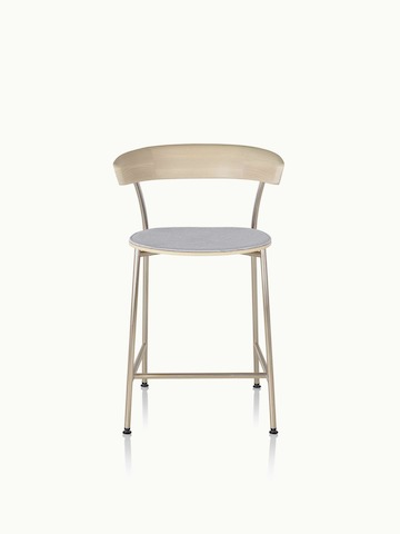 A counter-height Leeway Stool with a metal frame, wood backrest, and upholstered seat in light gray fabric, viewed from the front.