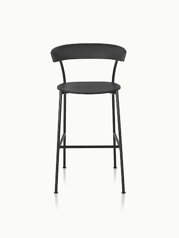 A bar-height Leeway Stool with a black metal frame and a black polyurethane backrest and seat, viewed from the front.