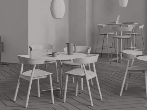 Black-and-white image of a lounge space featuring various seating types, including metal and wood Leeway Stools.