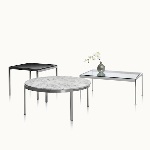 Three Metal Series occasional tables, including square, round, and rectangular versions.