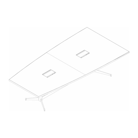 Line drawing of a half-boat-shaped MP Conference Table, viewed from above at an angle.