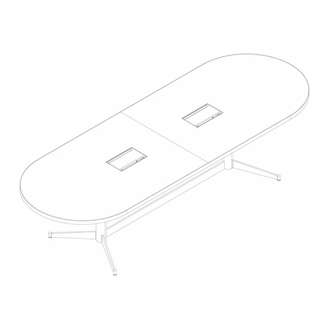 Line drawing of a racetrack-shaped MP Conference Table, viewed from above at an angle.
