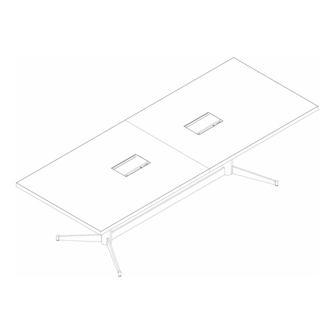 Line drawing of a rectangular MP Conference Table, viewed from above at an angle.