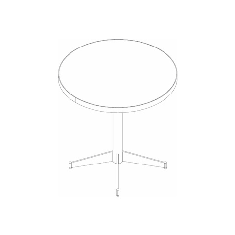 Line drawing of a round MP table, viewed from above.