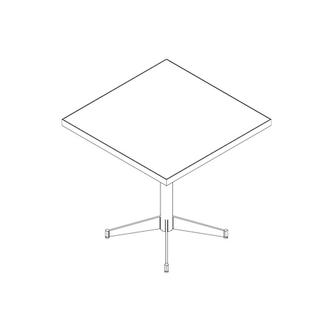 Line drawing of a square MP table, viewed from above at an angle.