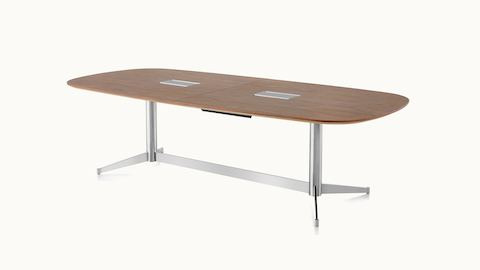 An oblong MP Conference Table with a medium-tone recograin rosewood finish, viewed at an angle.
