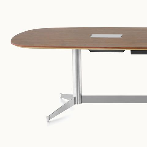 Partial view of an MP Conference Table, showing how the tabletop appears to float.