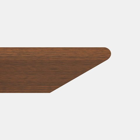 Close-up of the Knife edge option for MP Conference Tables, featuring a 45-degree cut with a rounded top corner.