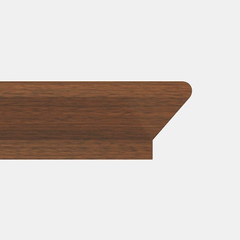 Close-up of the Stepped Knife edge option for MP Conference Tables, featuring a 45-degree cut with a rounded top corner and perpendicular bottom corner.
