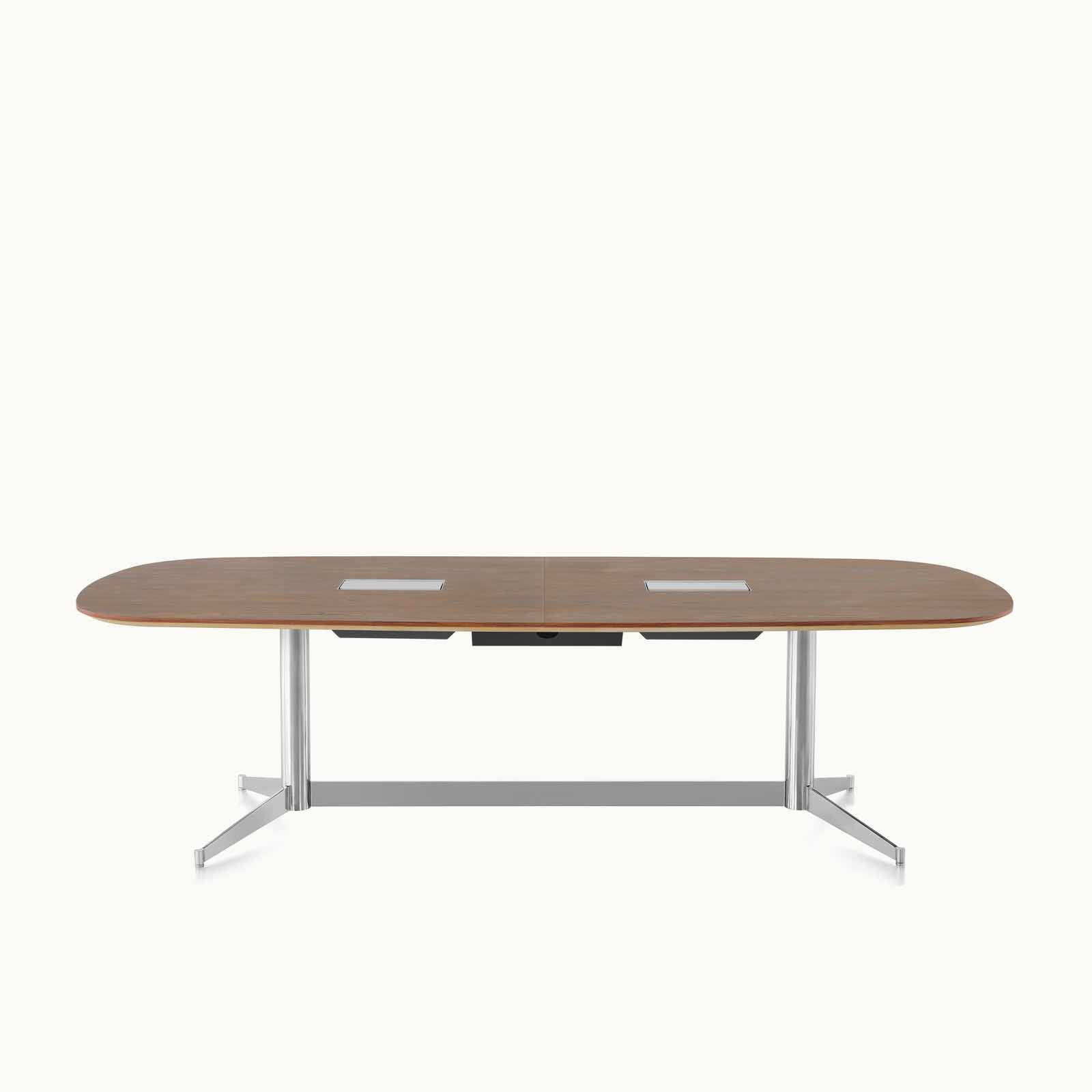 An oblong MP Conference Table with a medium-tone recograin rosewood finish, viewed from the front.