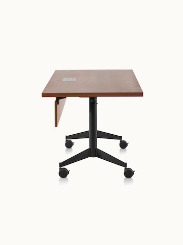 A rectangular MP Flex Table with a chocolate ash finish and black base, viewed from the side.