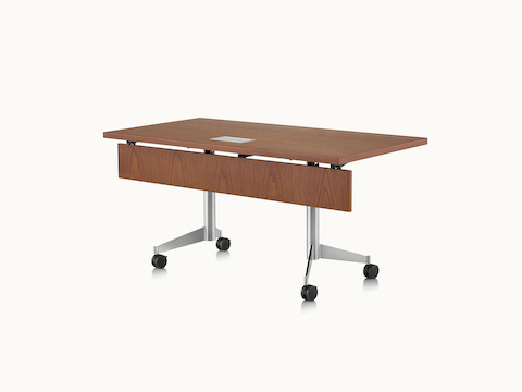 A rectangular MP Flex Table with a chocolate ash finish and silver base, viewed at an angle.