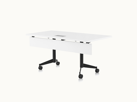 A rectangular MP Flex Table with a white laminate top and black base, viewed at an angle.