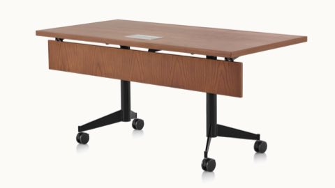 A rectangular MP Flex Table with a chocolate ash finish and black base, viewed at an angle.