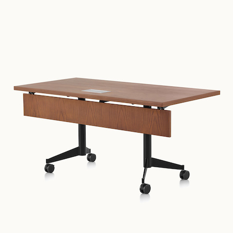 A rectangular MP Flex Table with a chocolate ash finish, viewed at an angle. Select to go to the MP Flex Tables product page.