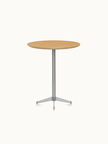 A café-height MP bistro table with a round wood top in a light finish.